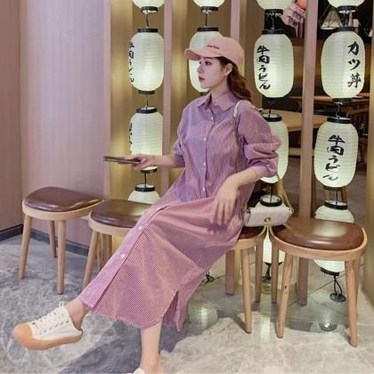 VV-Striped long sleeve shirt long dress长款条纹长袖衬衫连衣裙(VV11000)