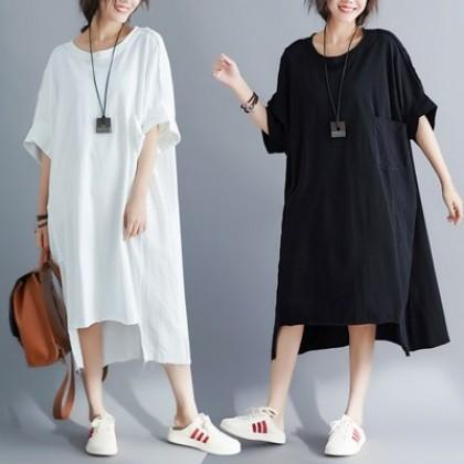 VV-Plussize cotton and linen dress大码遮肚子显瘦棉麻连衣裙(VX30028)